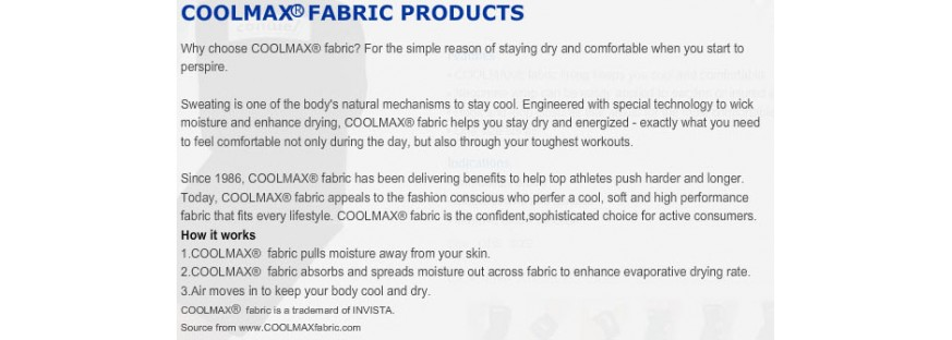 COOL MAX FABRIC LINE