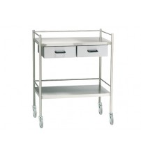 INSTRUMENT TROLLEY STAINLESS STEEL WITH TWO DRAW QMED PAKISTAN
