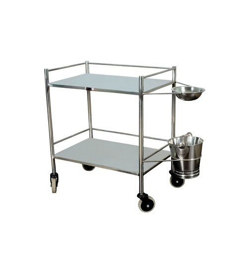 INSTRUMENT TROLLEY WITH BOWL AND BUCKET STAINLESS STEEL QMED PAKISTAN